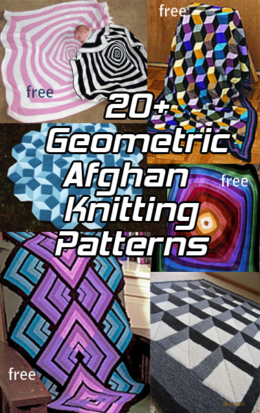 Bold Geometric Afghan Knitting Patterns. Bold graphic patterns for afghans, blankets, and throws create dramatic beautiful designs from op art, pop art, optical illusion, and mathematical formulas. Easier to knit than they look like they should be, they are fun to knit and will get you lots of compliments. Many of the patterns are free.