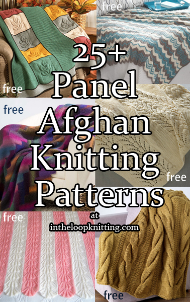 Afghans in Sections Knitting Patterns. Blankets and throws knit in panels and then seamed, to make the knitting easier to handle and more portable. Many of the patterns are free.