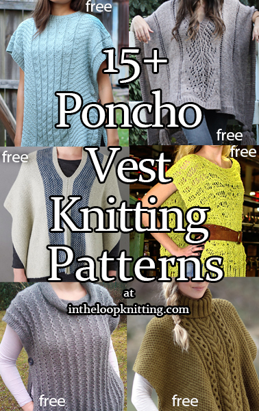 Knitting patterns for open sided tabard poncho style tops. Most patterns are free.