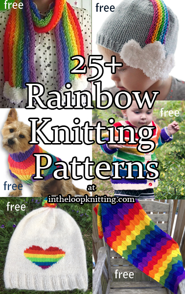 Knitting patterns with Rainbow motifs and shapes on blankets, pillows, sweaters, mitts and more! Most patterns are free.