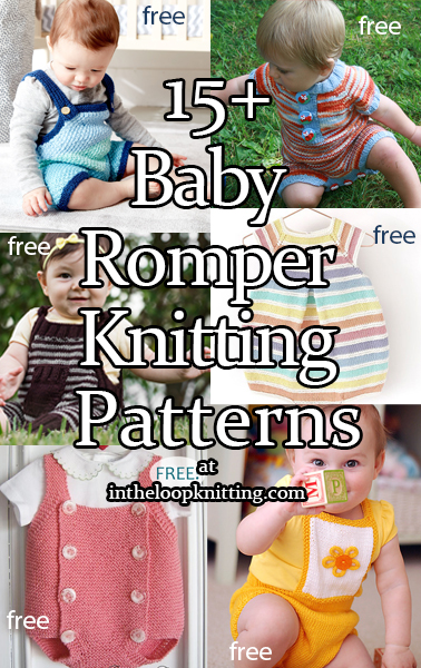 Knitting patterns for bib-front baby rompers and onesies. Most patterns are free.