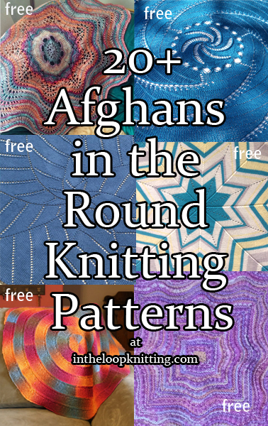 Afghan in the Round  Knitting Patterns. These knitting patterns feature afghans, throws and blankets that are either circular or knit in the round with repeating concentric patterns to form other shapes such as squares and stars. Many of the patterns are free.