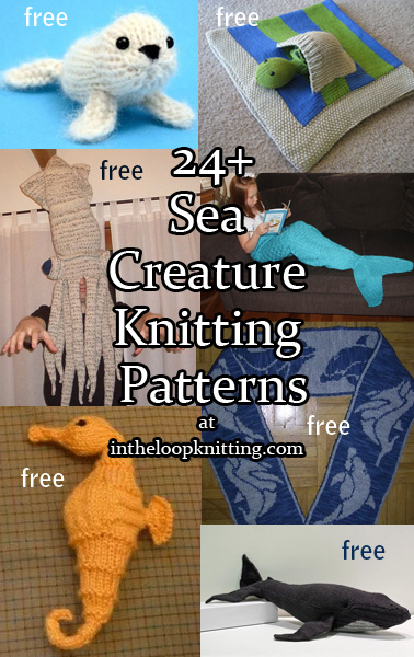 Sea Creature Knitting Patterns. Knitting patterns for all kinds of animals who love and live in or near the water including whales, sharks, dolphins, seals, and even mermaids!  Most patterns are free.