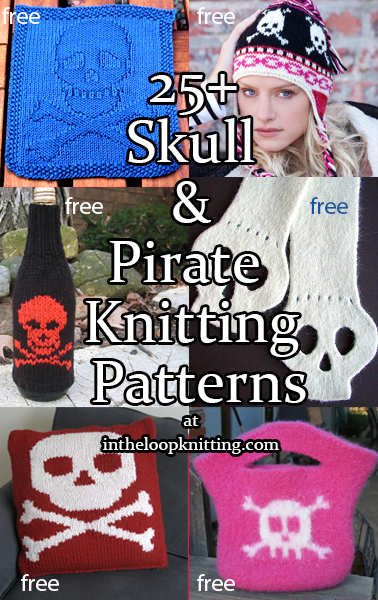 Pirate, Punk, and Other Skull Motif Knitting Patterns - Want a versatile fashion choice? Try a skull and crossbones! This fun, expressive motif can mean pirate or punk or poison, Halloween or Dia de los Muertos or everyday goth accessory. I've also included a few other pirate patterns. Most patterns are free.