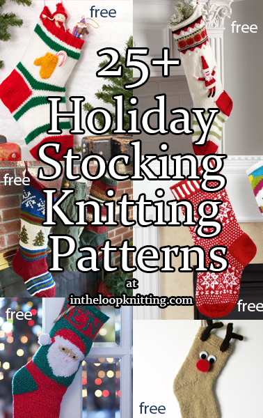 Christmas Stocking Knitting Patterns. Holiday stockings for gifts and decoration. Many of the patterns are free