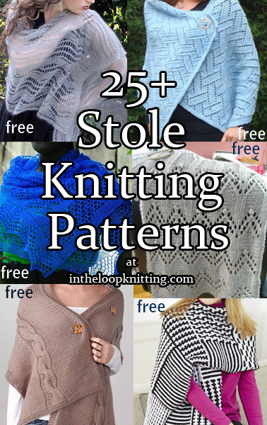Stole Knitting Patterns. Rectangular shawls and wraps including lace, textured, easy, cables, and more.