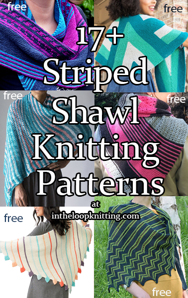 Knitting patterns for colorful shawls with stripes in garter stitch, stockinette, or other basic stitches. Most patterns are free.