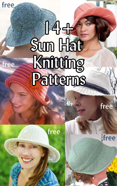 Sun Hat Knitting Patterns. Knitted hats aren't just for winter! These great knitted hats keep the sun out of your eyes, your head cool, and your summer outfits stylish. Most patterns are free.