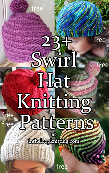 Swirl Hat Knitting Patterns. These hats feature swirling or spiral stitch  patterns. Most patterns baacf7a7923