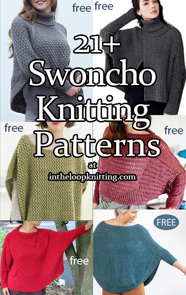 Knitting patterns for Pullover sweater patterns with an oversized poncho style silhouette.. Most patterns are free.