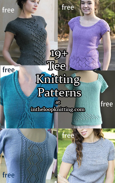 Tee Top Knitting Patterns. Short sleeved pullover top knitting patterns. Most patterns are free.