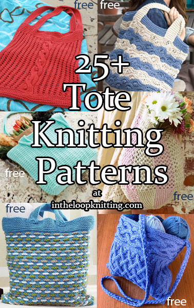 Tote Knitting Patterns. Tote bags are great when you need to carry more than a phone and a credit card. These totes range from collapsible market totes to dressy bags to beach carryalls. Most patterns are free.