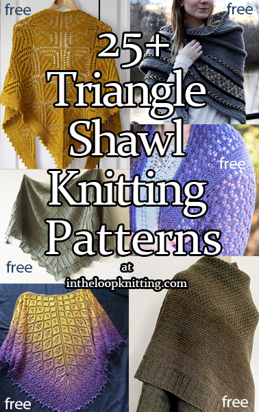 Knitting patterns for triangle shaped shawls. Many of the patterns are free.