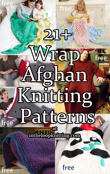 Wrap Afghan Knitting Patterns. Cozy blankets to wrap up in with hoods, sleeves, and snuggle sacks.