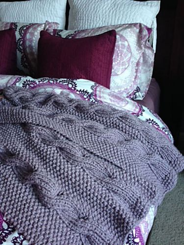 Free Knitting Pattern for Wintry Cable Afghan Reversible Blanket