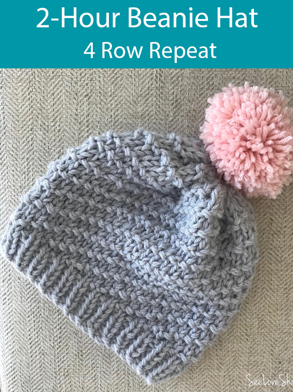 Knitting Pattern for 2-Hour Beanie Hat