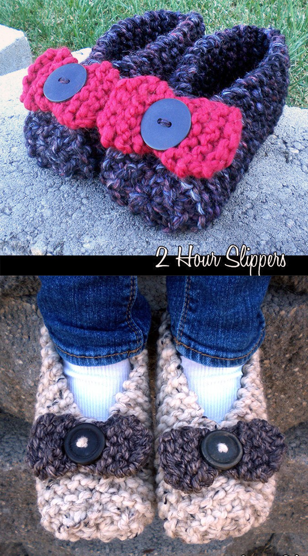 Knitting pattern for 2 Hour Slippers