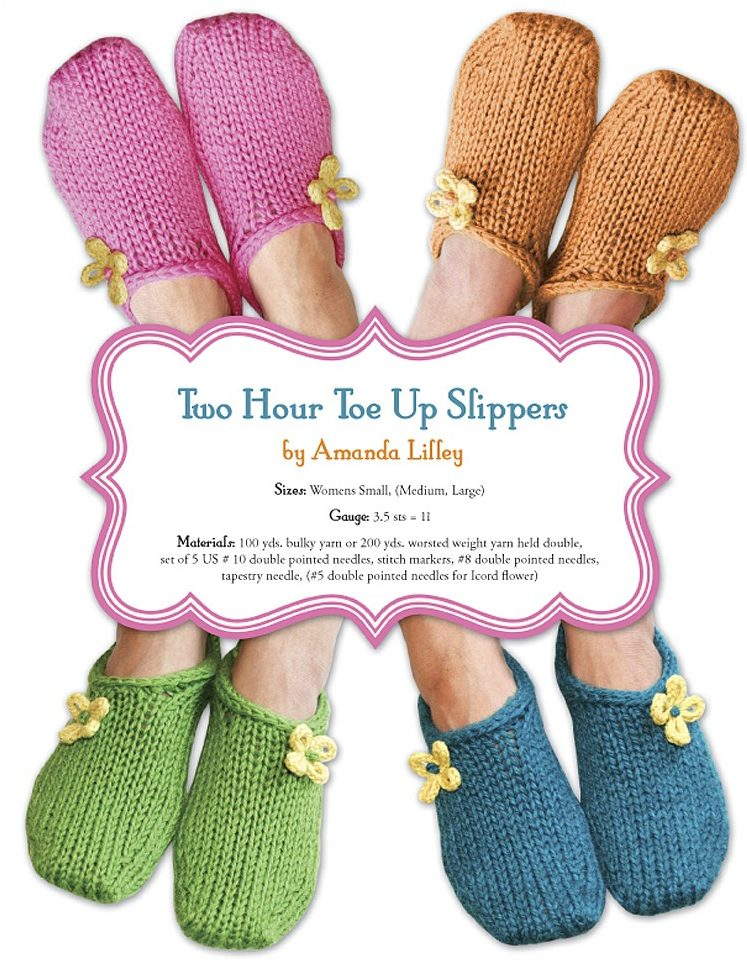 Knitting Pattern for 2 Hour Toe Up Slippers
