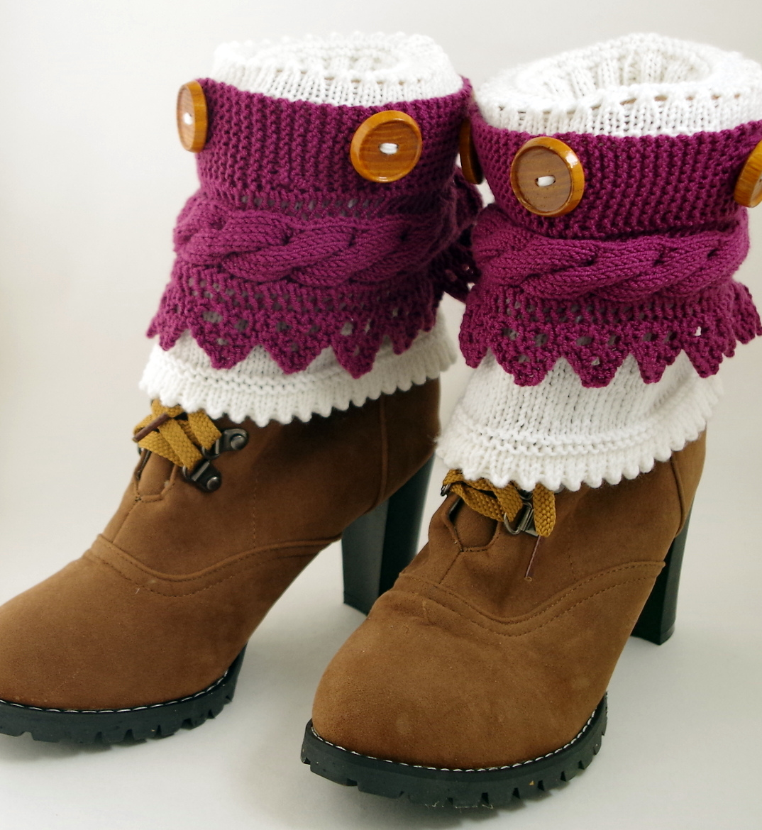 Free Knitting Pattern for 2-in-1 Boot Cuffs With Buttons And Lace