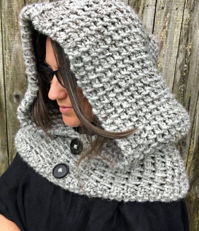 Knitting Pattern for 2 Row Repeat Dawn Hooded Cowl