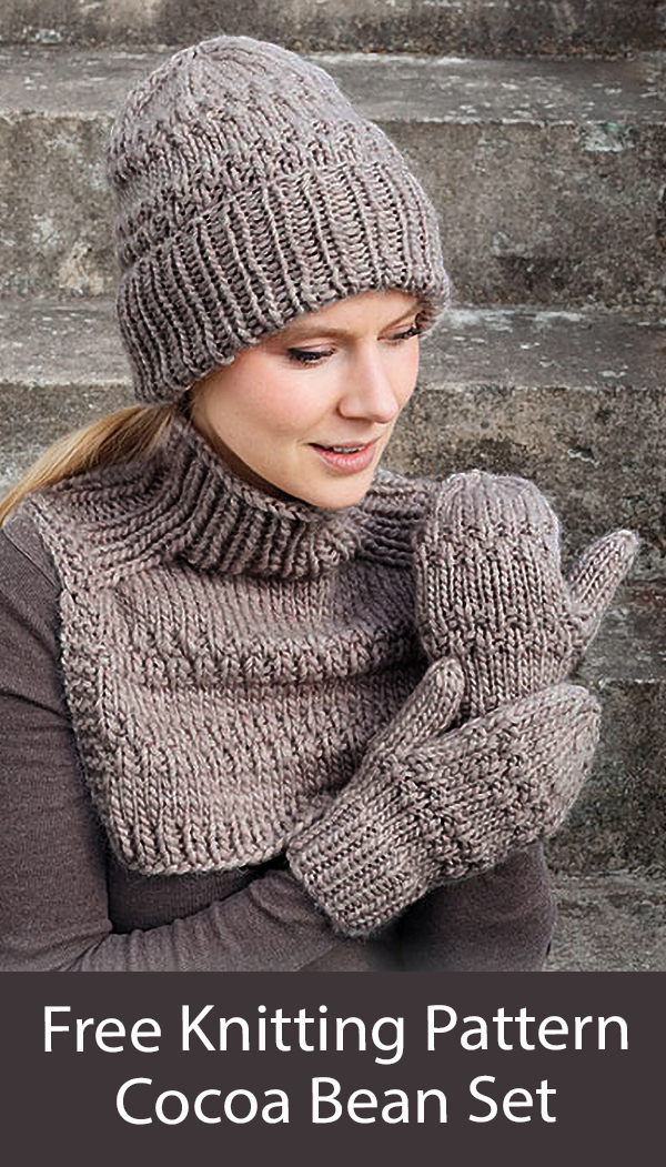 Free Hat, Cowl, Mittens Knitting Pattern Cocoa Beans Set