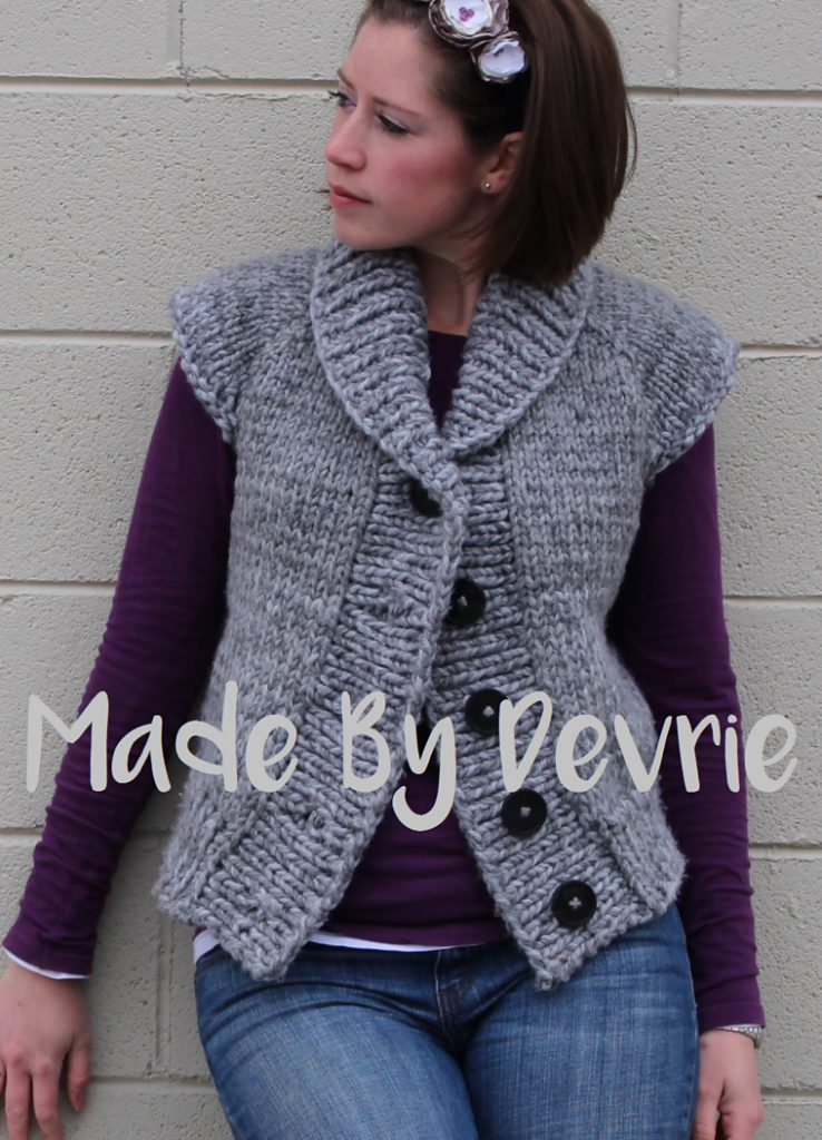 Knitting Pattern for Shawl Collar Vest