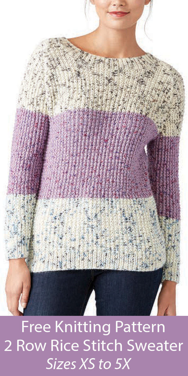 Free Sweater Knitting Pattern in 2 Row Repeat Rice Stitch