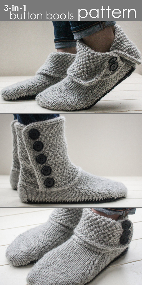 Knitting Pattern for 3-in-1 Button Boots