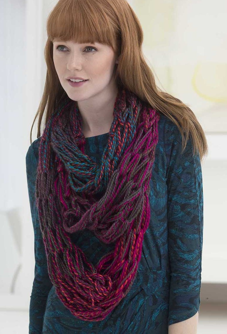Free Knitting Pattern for 3 Strand Arm Knit Cowl