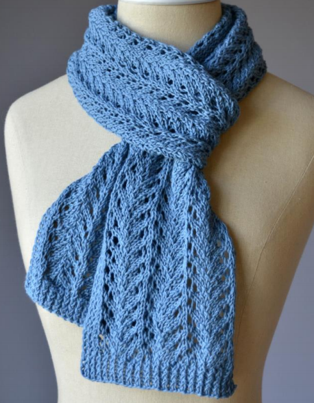 Free Knitting Pattern for 4 Row Repeat Lace Scarf