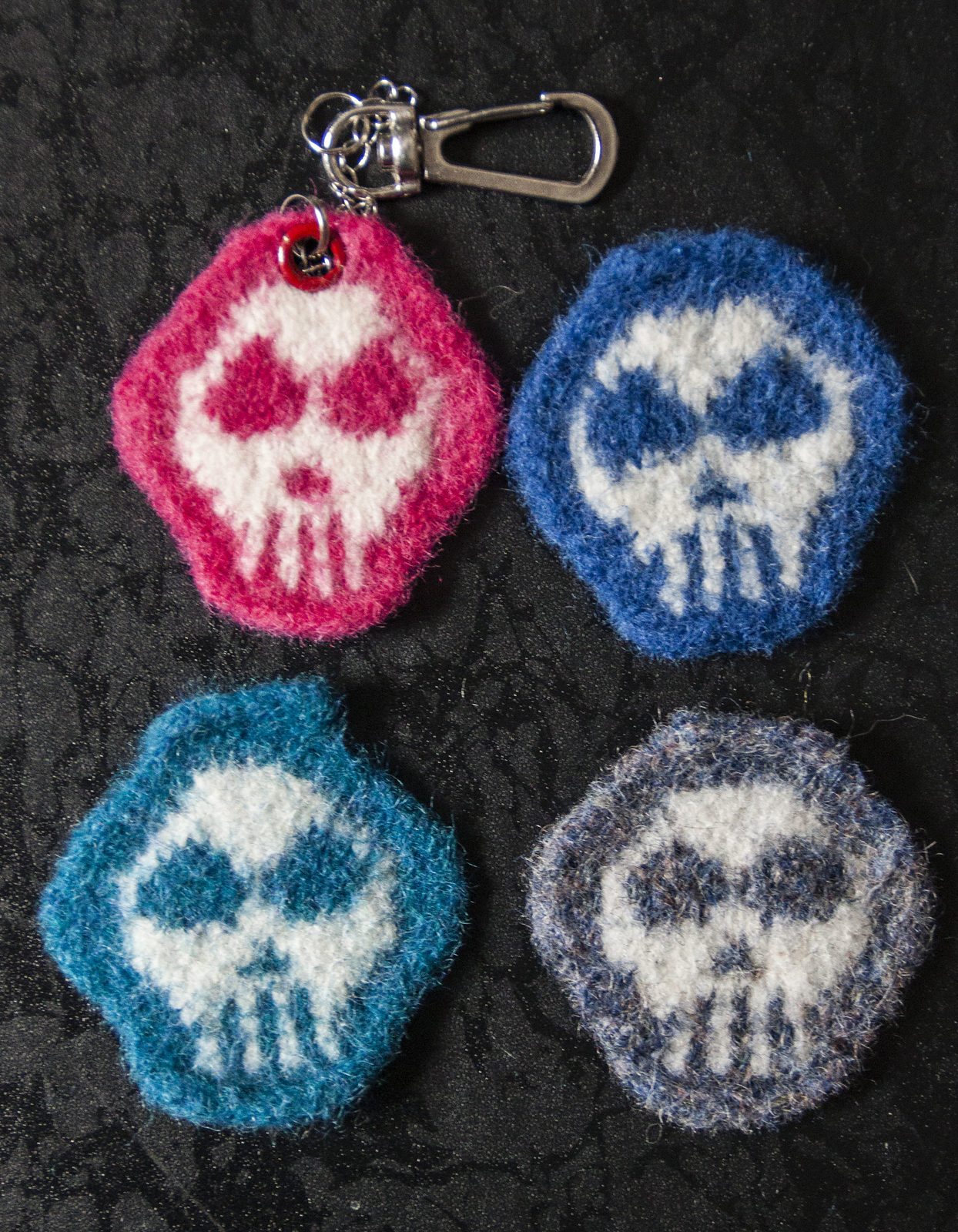 Free Knitting Pattern for Skull Keychain