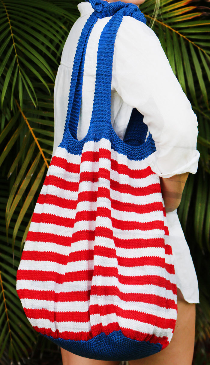 Free Knitting Pattern for Fourth of July Beach Bag