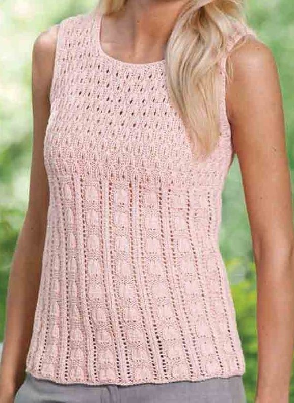 Knitting Pattern for Rosebud Tank Top