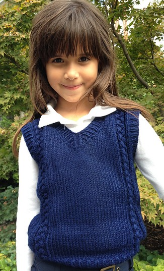 Free knitting pattern for 6 stitch plait children's vest