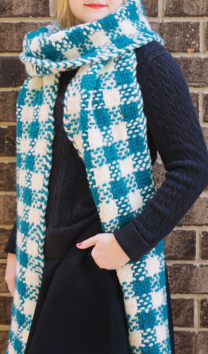 Free Knitting Pattern for Plaid Super Scarf