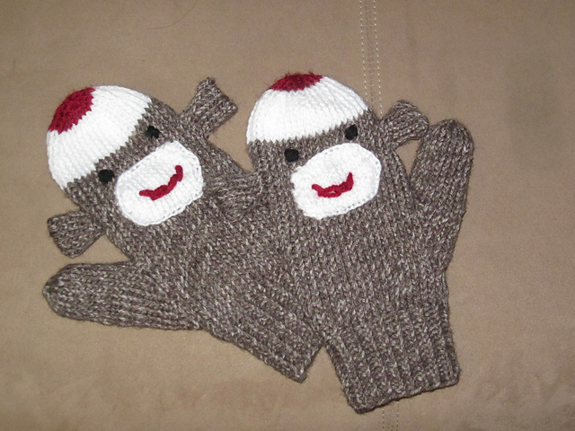 Free knitting pattern for Sock Monkey Mittens and more Sock Monkey Knitting Patterns
