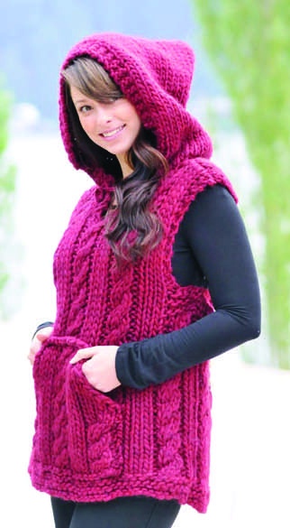 Free Knitting Pattern for Hooded Magnum Vest