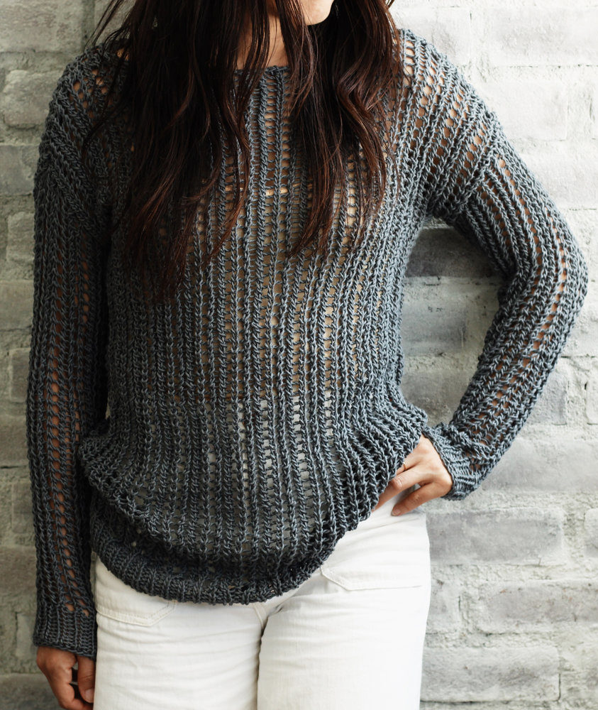 Free Knitting Pattern for 2 Row Repeat Bay Street Pullover