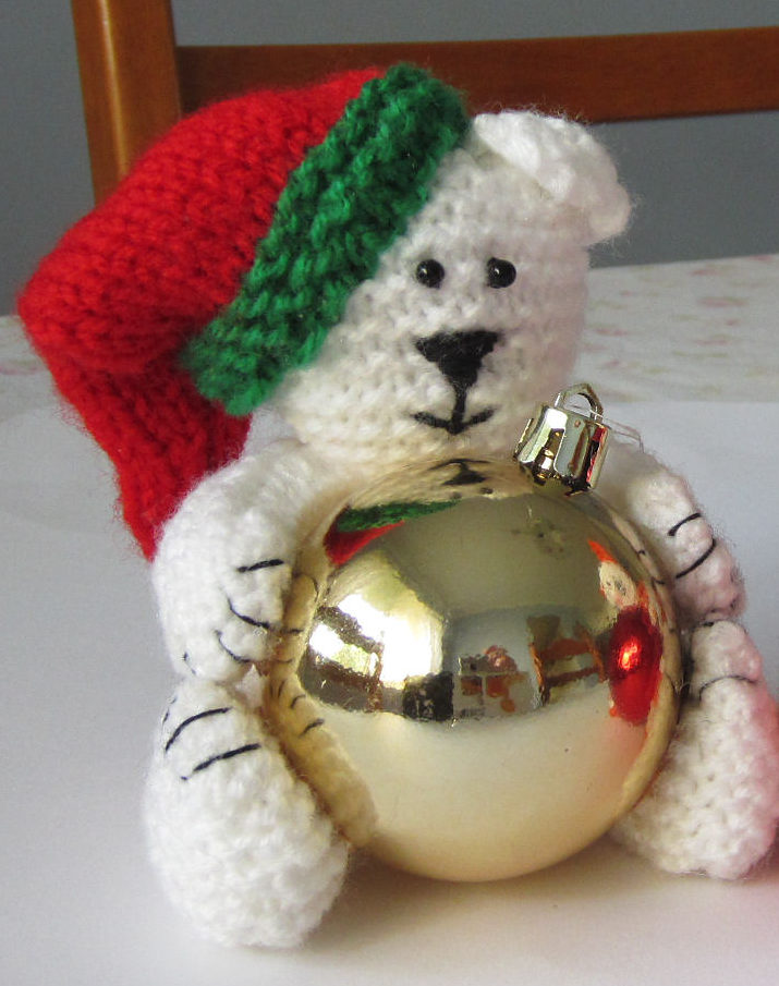 Free Knitting Pattern for Polar Bear and Cat Bauble Ornaments