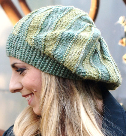 Free Knitting Pattern for Bimitral Beret or Beanie Knit Flat
