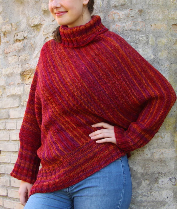 Free Knitting Pattern for Begonia Poncho Sweater