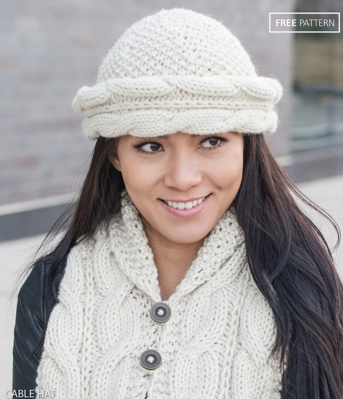 54a6e576 Free Knitting Pattern for Cable Brim Hat and Cable Shawl Collar Set