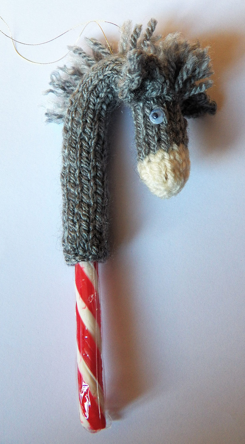 Free Knitting Pattern for Candy Cane Donkey