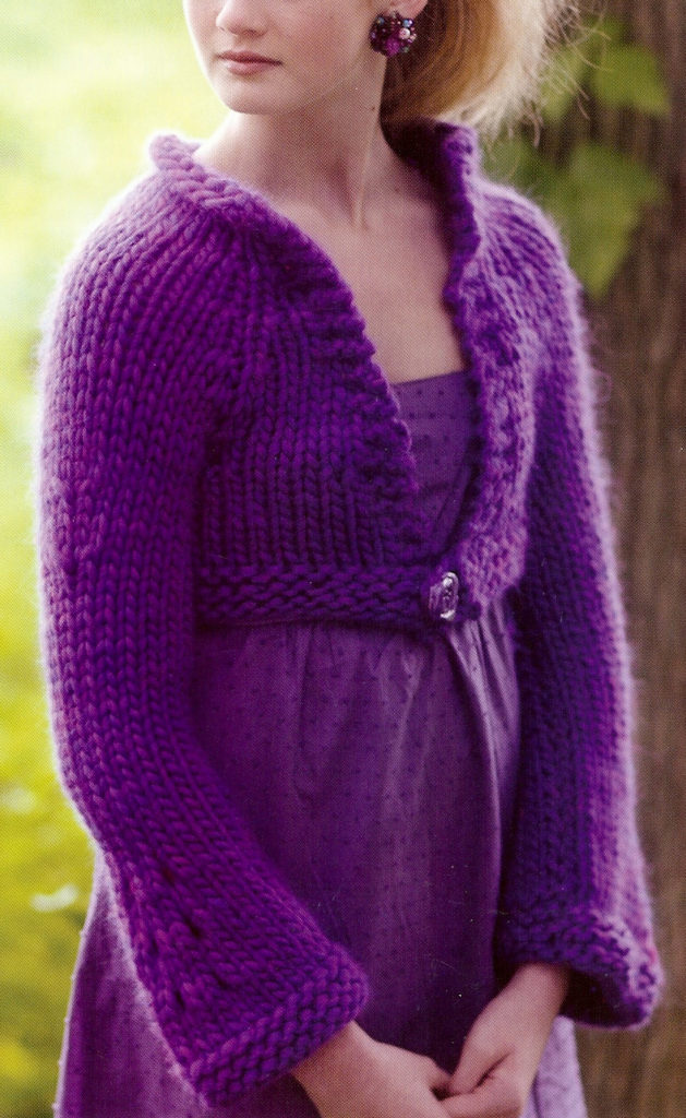 Free Knitting Pattern for Easy Carie Cropped Flare-Sleeve Cardigan