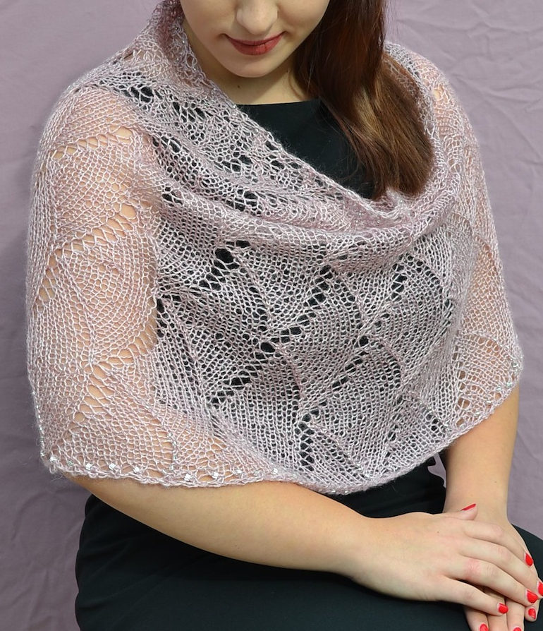 Free Knitting Pattern for Cascade Lace Cowl Poncho