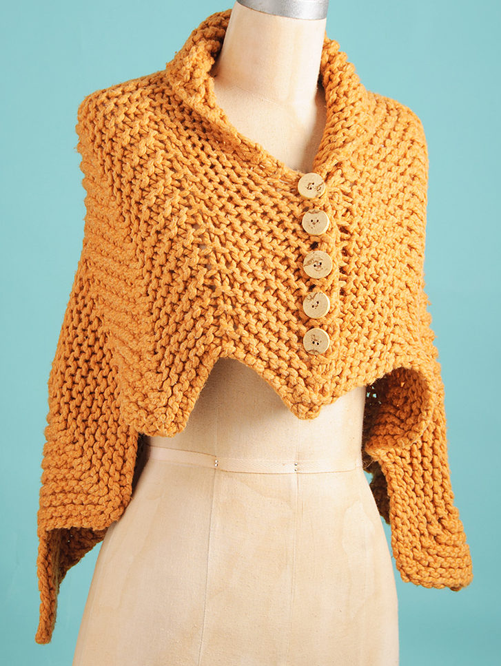 Free Knitting Pattern for 2 Row Repeat Easy Cedar Wrap