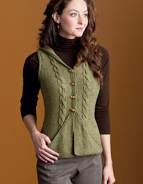 Knitting pattern for hooded Divine Vest and more vest knitting patterns