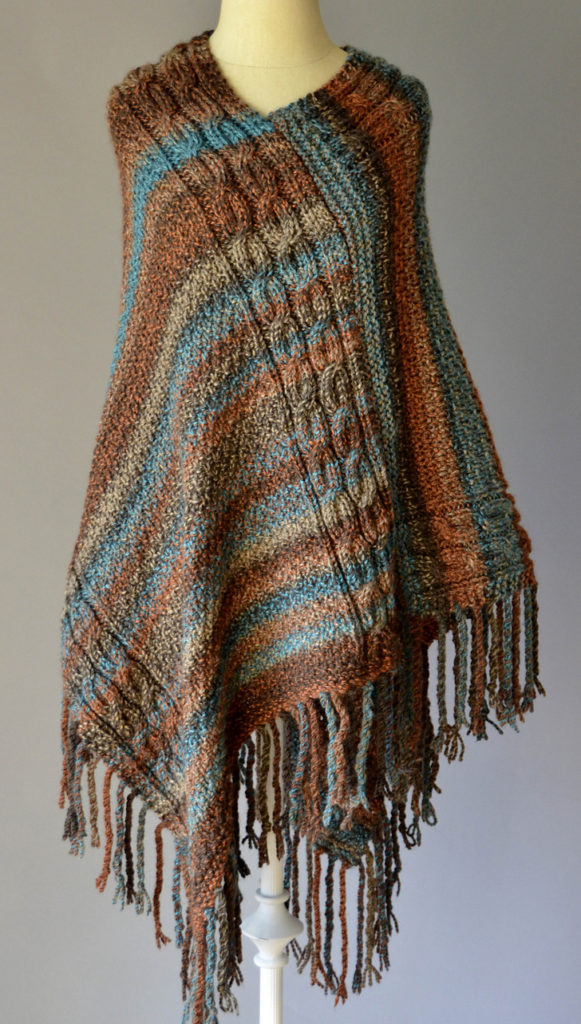 Free Knitting Pattern for Double Cable Poncho