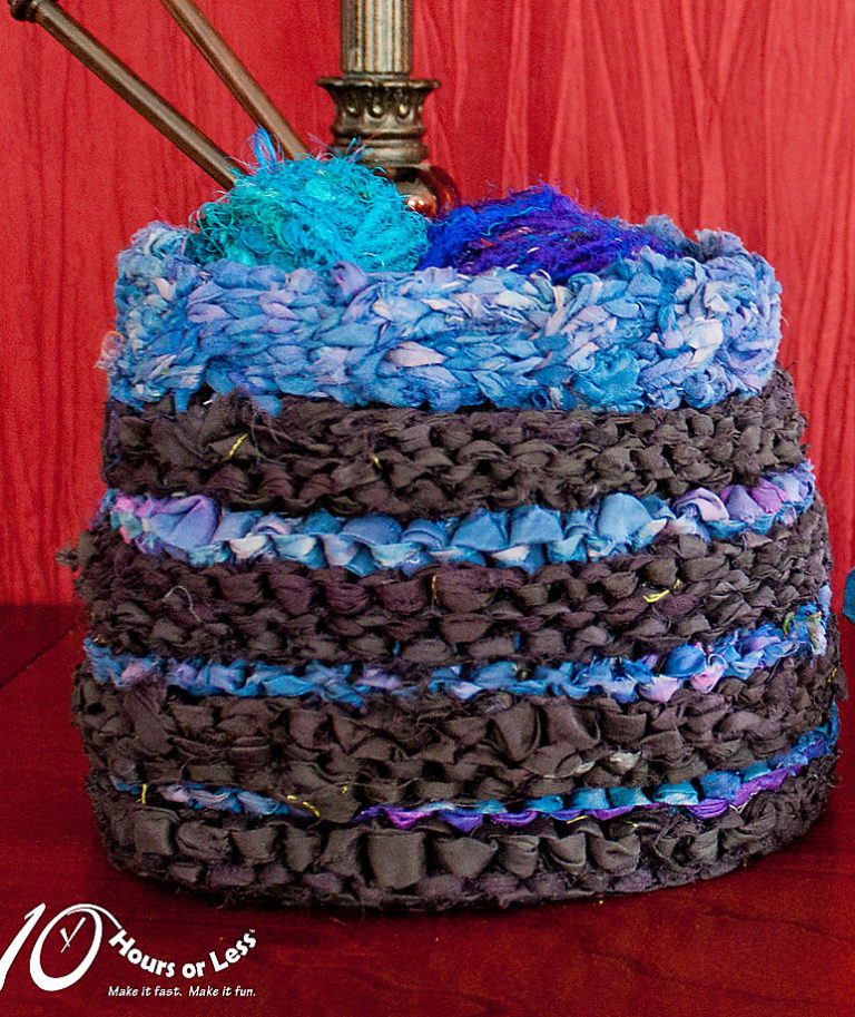 Free Knitting Pattern for Sari Ribbon Basket or Bag