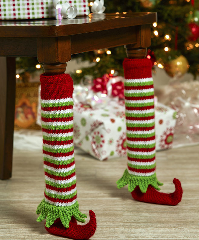 Free Knitting Pattern for Elf Shoe Table Leg Covers